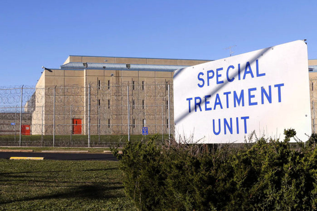 Special Treatment Unit sign in Avenel, NJ in front of New Jersey shadow prison, which used to be the solitary wing of a maximum security prison and remains on the grounds of a prison.